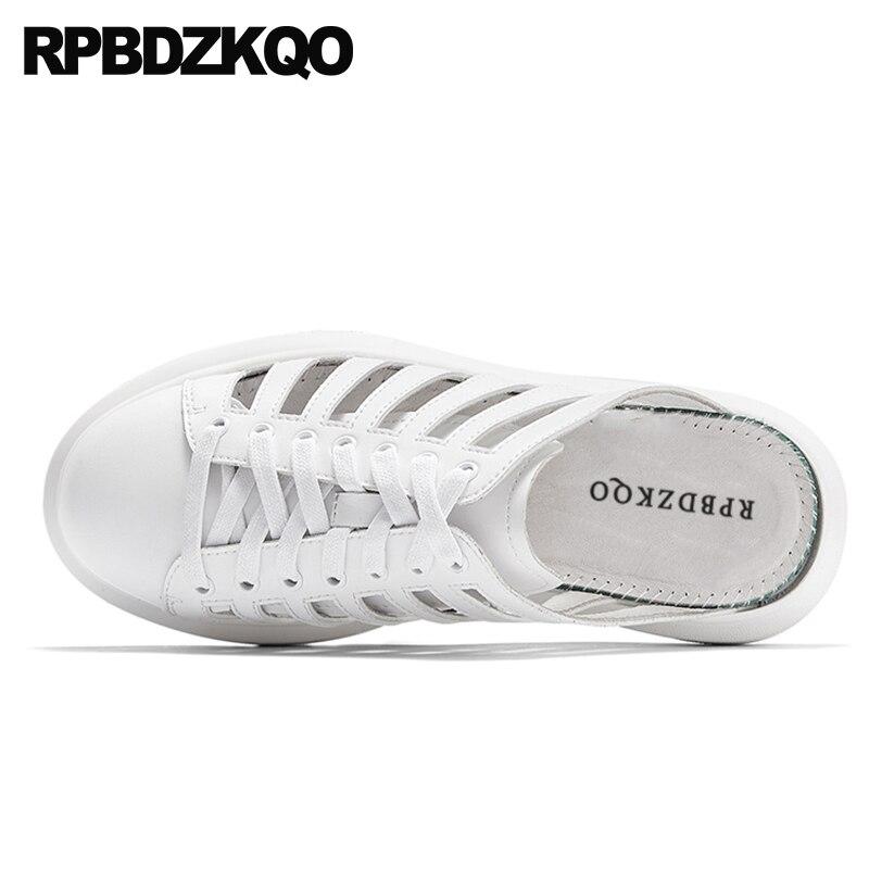 все цены на Slides Outdoor Designer High Quality White Roman Platform Slippers Men Gladiator Sandals Summer Mules Slip On Shoes Closed Toe онлайн