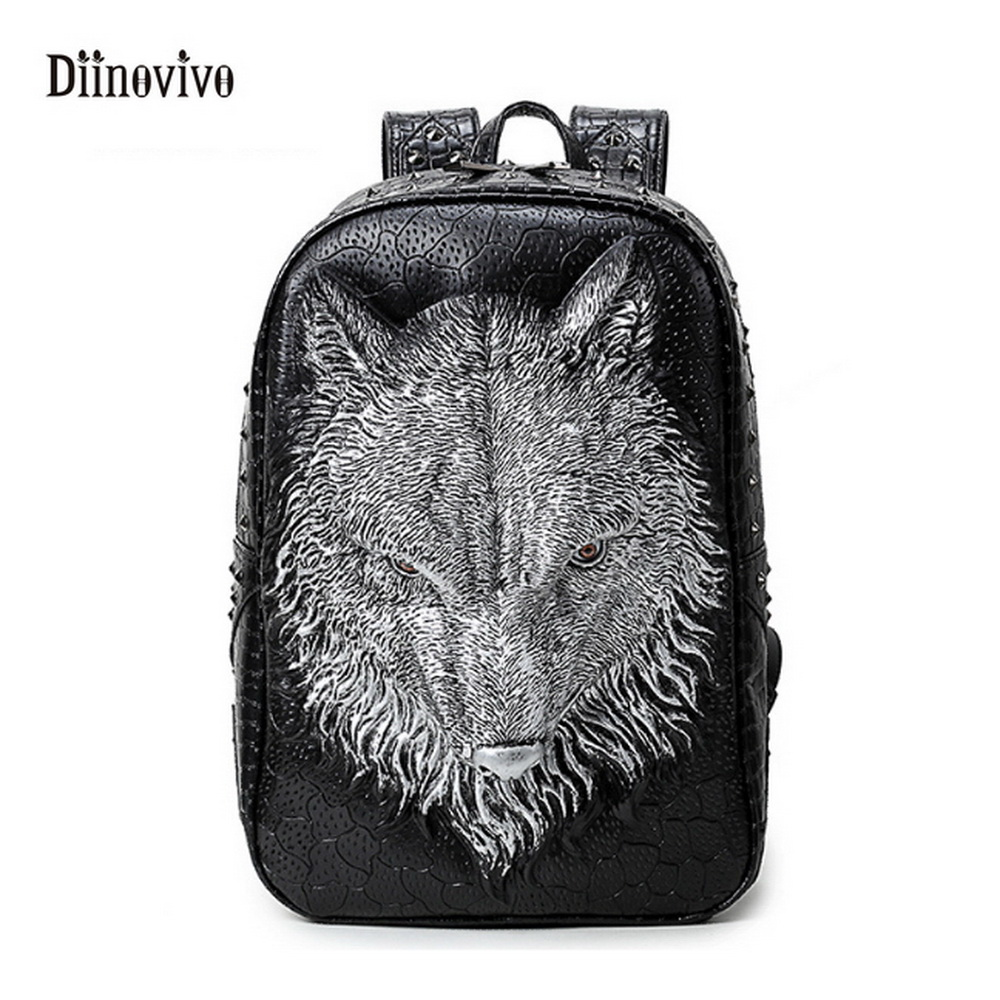DIINOVIVO New Rivet Three-dimensional Wolf Backpack Street Fashion Youth Schoolbag Large Capacity Waterproof Travel Bag WHDV0123 new lone wolf and cub v 7