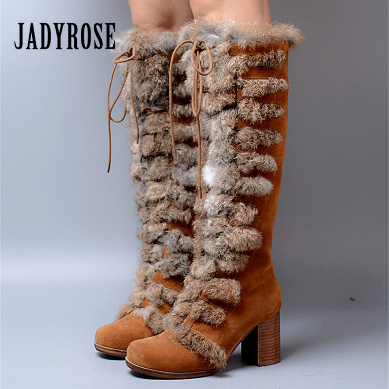 Jady Rose Suede Women Knee High Boots Female Winter Warm Snow Boots Rabbit Fur Platform Shoes Woman Chunky High Heel Boot bonjomarisa women riding style motorcycle boots chunky heel platform shoes woman winter add fur knee high snow boots