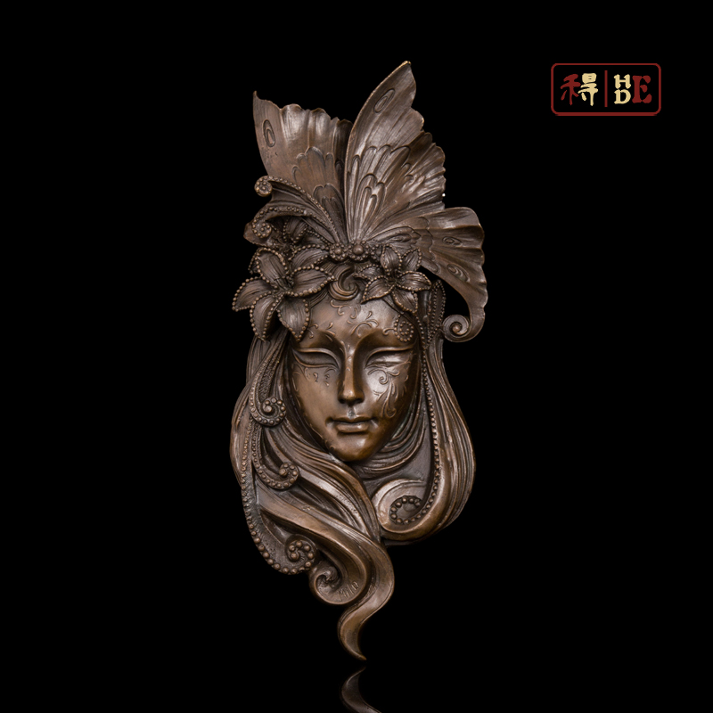 Wo have copper art Peacock mask Home Furnishing mural soft outfit copper sculpture crafts pendant