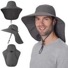 Letni kapelusz na słońce Unisex z klapą na szyję czapka wędkarska z szerokim rondem czapka turystyczna na polowanie podróże Camping kajak żeglarstwo