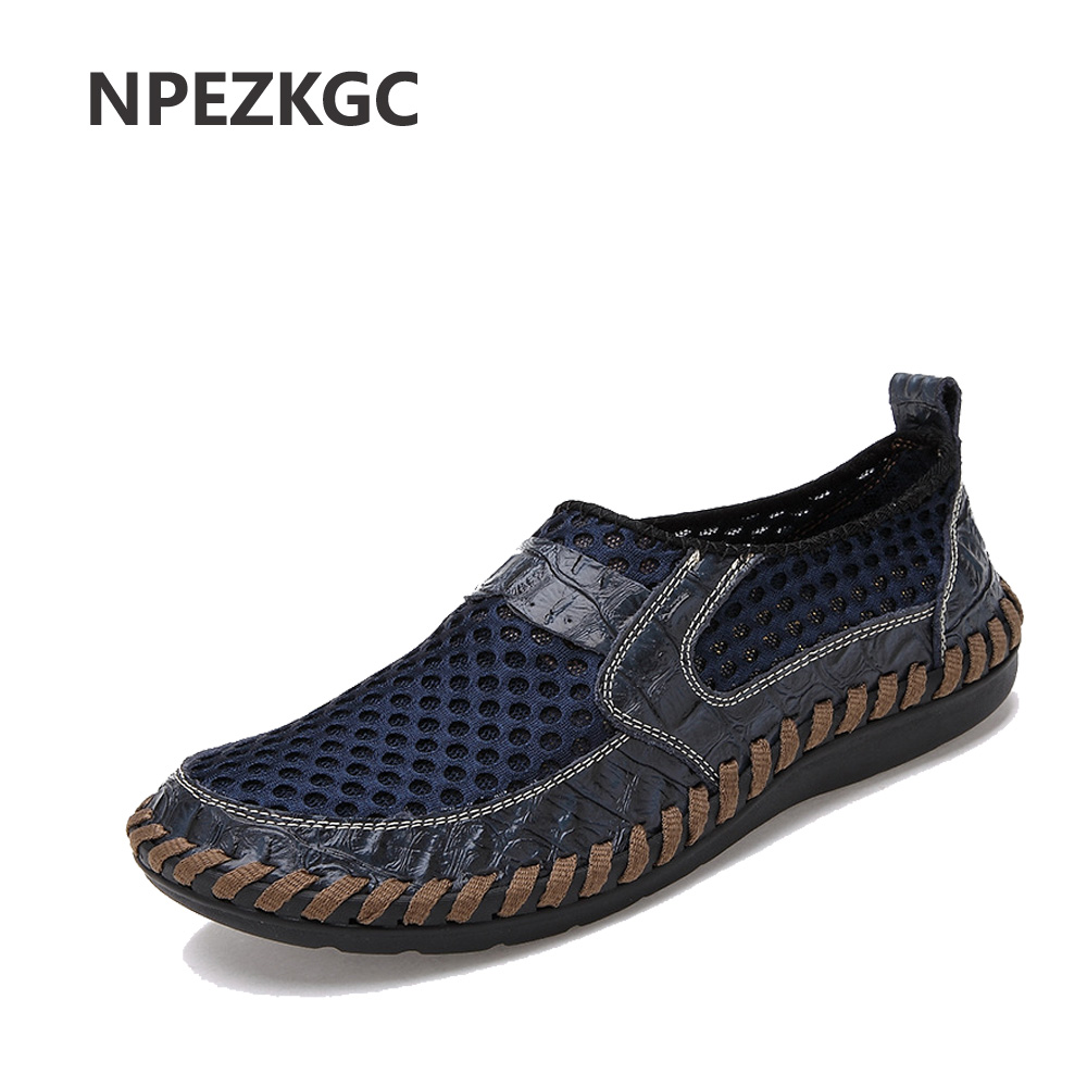 NPEZKGC Summer Breathable Mesh Shoes Mens Casual Shoes Genuine Leather Slip On Brand Fashion Summer Shoes Man Soft Comfortable