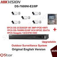 H ikvisionต้นฉบับภาษาอังกฤษระบบกล้องรักษาความปลอดภัย5xDS-2CD2032F-IW 3MP POE IPกล้องวงจรปิดไร้สายกล้อง+ 6MPบันทึก...