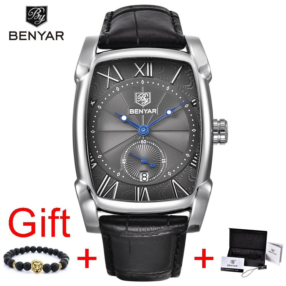 Benyar Square Men Watch Business Waterproof Quartz Leather Wrist Watch Men Clock Male Relogio Masculino hodinky erkek kol saati
