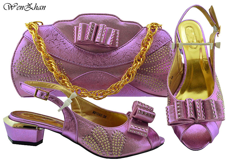 Новейший комплект из туфель и сумочки, Лидер продаж, комплект из туфель в африканском стиле золотистого цвета, итальянский комплект из туфе...