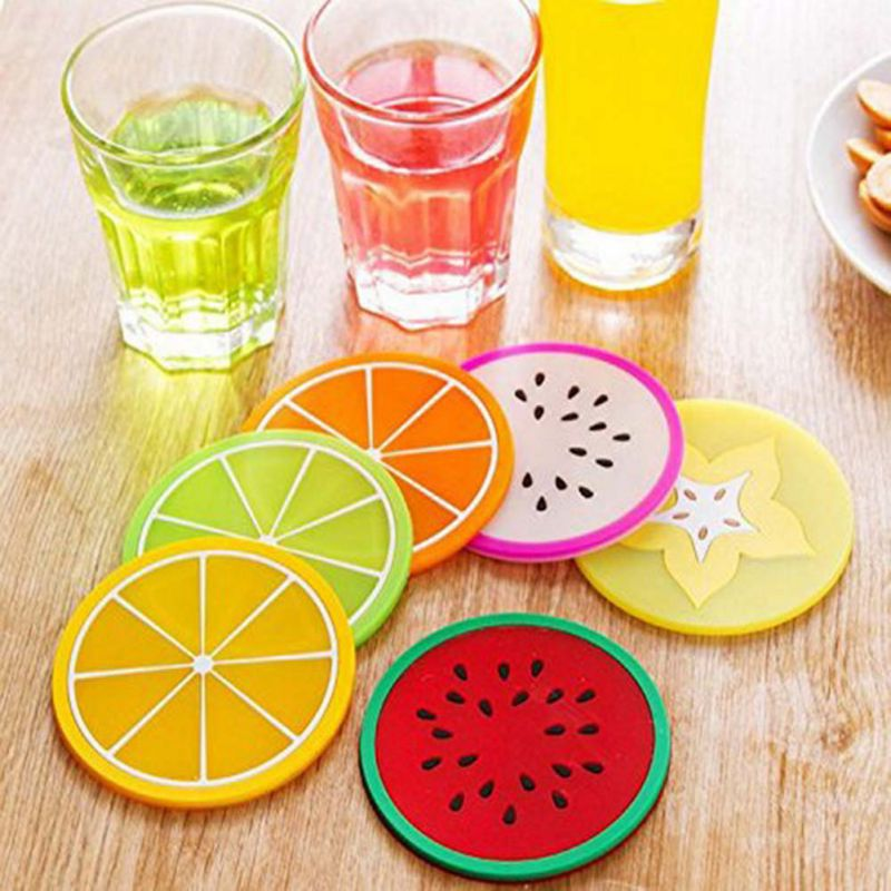 6Pcs/pack Round Silicone Mat Durable Non-slip Heat Dining Fruit pattern Table Mats Cup Multifunction Hung Waterproof Pads