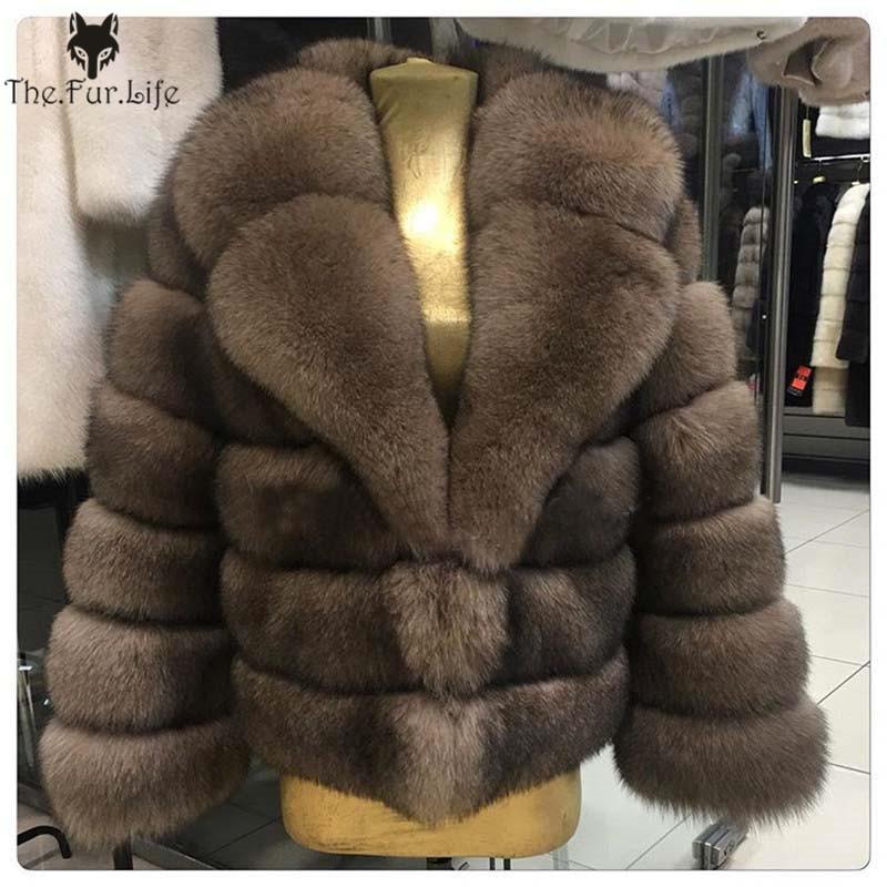 Winter Real Fox Fur Coat Thick Warm Imitation Sables Women's Light Brown Short Jacket The Fox Fur Coat