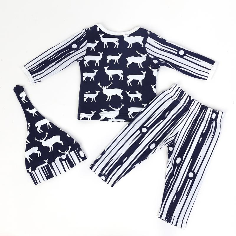 3pcs Newborn Casual Clothing Set Infant Baby Boys Long Sleeve Deer Print Top + Pants + Hat Outfits Kids Clothes