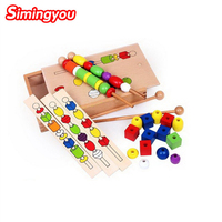 Simingyou Montessori Wooden Toy Bead Sequencing Set Block Toys Classic Toy Educational Games For Children C20 DropShipping