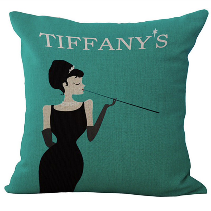 Cuscini Color Tiffany.Fashion High Quality Cotton Linen Tiffany Breakfast Audrey Hepburn