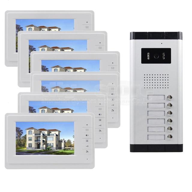 """DIYSECUR 7 """"4-проводной Квартира Видео-Телефон Двери Аудио и видео Домофон ИК Камера Для 6 Семей"""