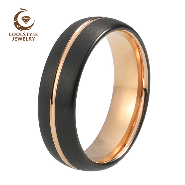 e9a5a1edbc5 8mm Center Line Domed Black Rose Gold Color Plated Comfort Fit Tungsten  Wedding Band Engagement Ring For Men Women