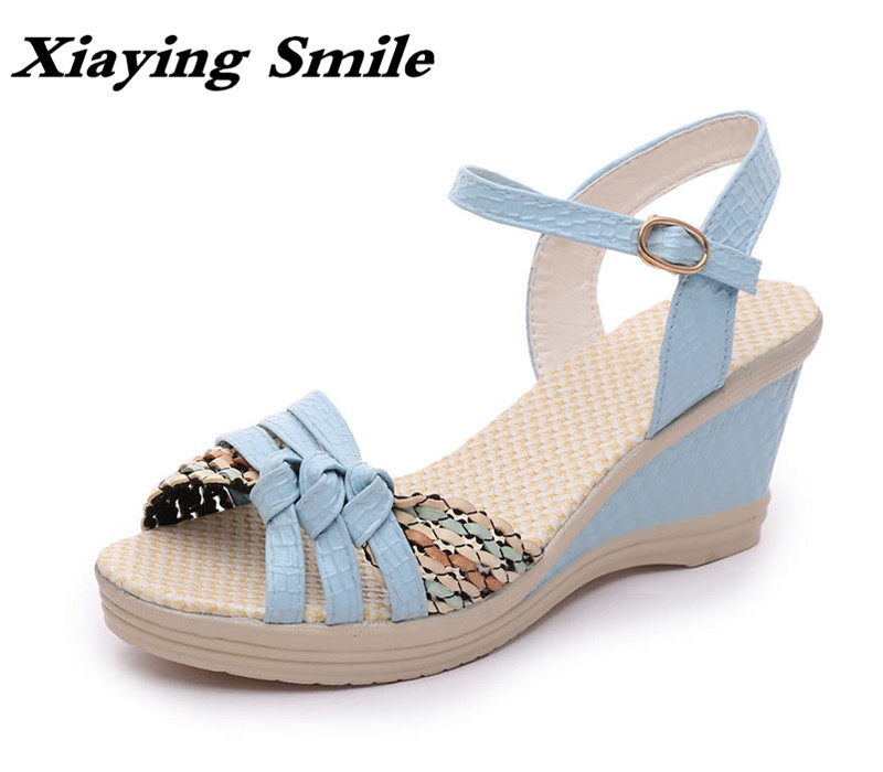 Xiaying Smile Summer Woman Sandals Platform Wedges Heel Women Pumps Buckle Strap Sennit Sweet Candy Colors Hollow Women Shoes xiaying smile summer woman sandals square cover heel woman pumps buckle strap fashion casual flower flock student women shoes