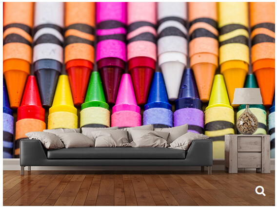 Custom children wallpaper,Multicolored crayons,3D cartoon mural for living room  bedroom hotel backdrop Vinyl papel de parede custom children wallpaper multicolored crayons 3d cartoon mural for living room bedroom hotel backdrop vinyl papel de parede