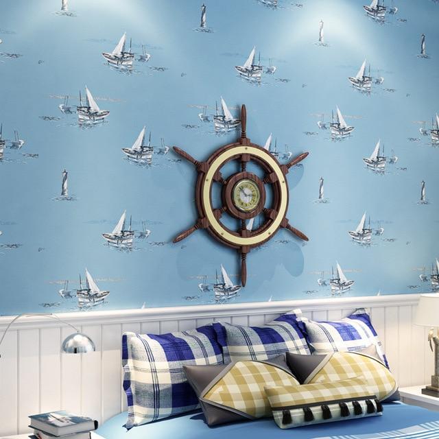 Us 38 99 0 53x10 Meter Kinderzimmer Cartoon 3d Segeln Muster Vlies Tapete Jungen Blau Schlafzimmer Wohnzimmer Luxus Nachttapete In 0 53x10 Meter