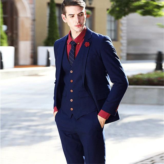 Mix&Match Fashion 3 Pieces Men Suits Red Button Navy Blue Tuxedos ...