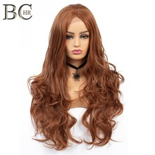 BCHR Long Wave Orange Auburn Red Synthetic Wigs for Women 24 Inch Glueless 13*4 Lace Front Wig For Black Women(China)