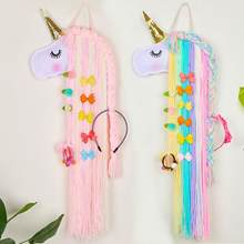 Fioday Unicorn Hair Bows Storage Belt for Girls Hair Clips Barrette Hairband Hanging Organizer Strip Holder for Hair Accessories(China)