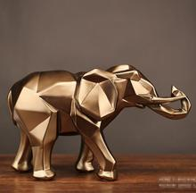 Gold Modern Geometric Elephant Resin Home Decoration Accessories Crafts Sculpture Statue Jewelry Ornaments