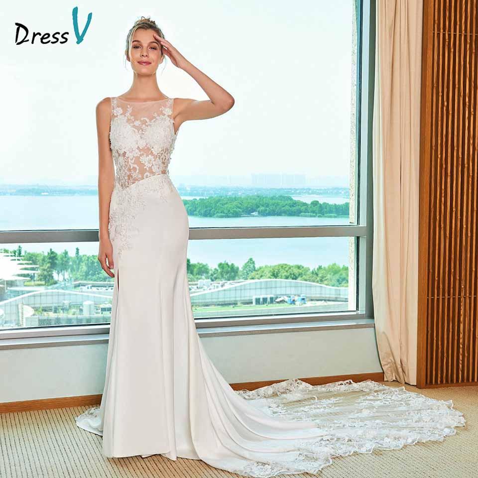 77e0a3e46e Dressv ivory elegancka suknia ślubna syrenka wycięciem cathdarl koronka  piętro długość bridal na zewnątrz i kościół