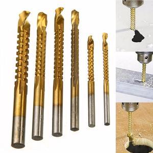 Image 1 - 3 8 мм с титановым покрытием HSS Сверло битовое электрическое сверло пластиковое металлическое отверстие канавка дрель пила плотник Деревообрабатывающие инструменты 6 шт