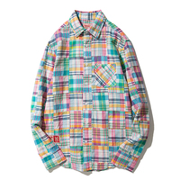 Spring Printed Shirts Men Party Patterned Casual Plaid Men Shirt Long Sleeve Hip Hop Korean Fashion