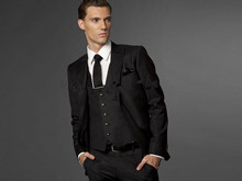 New 2018 custom side seam, two button black groom dress, notched lapel, best man, best man Mens Wedding Dress (jacket + pants +)