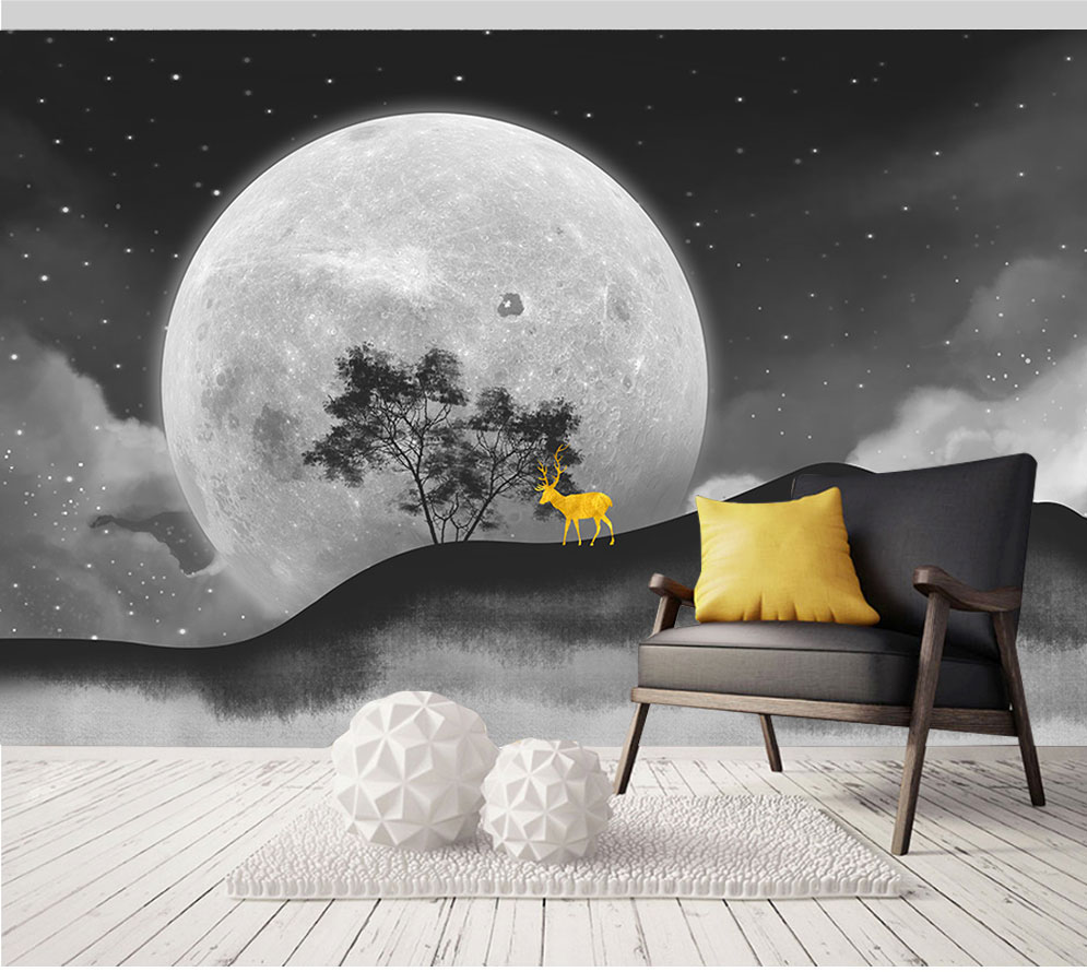 Large Papel Stars Sky Tree Moon Nature Deer Mountain 3d Wallpaper Mural For Living Room Sofa Background 3d Wall Mural Wall Paper
