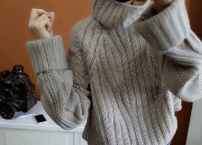 2019 nuevo suéter de cachemira pura mujer cuello alto suelto a rayas estilo invierno cálido Jersey femenino moda casual suéter