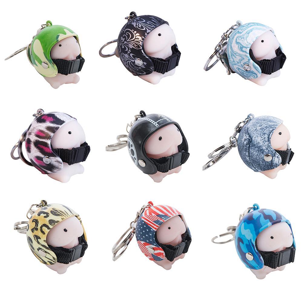 Soft Mochi Dingding With Helmet Pendant Toy Key Chain Holder Car Interior Decor Toys Key Ring Pendant Novelty Toys Adults