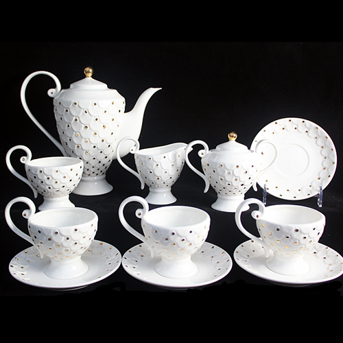 European Style Tea Set Bone China Coffee Ceramic Cup And Saucer Service For 4 People