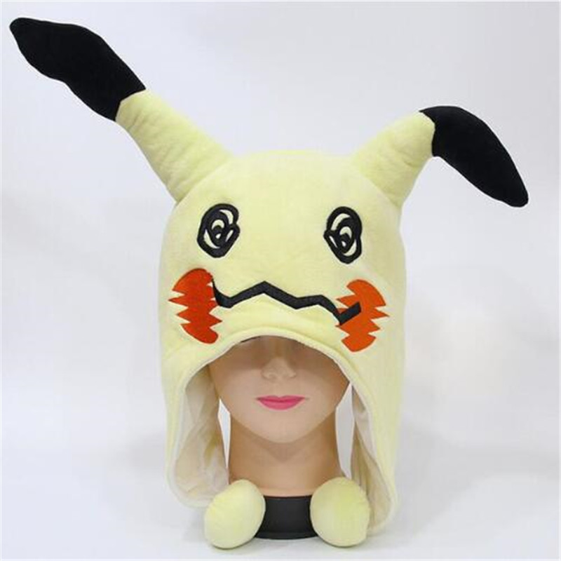 Boys Costume Accessories Japanese Anime Adult Kids Pokemon Pikachu Mimikyu Plush Hat Cosplay Custome Props Accessories Cartoon Warm Cap Headwear Hat Novelty & Special Use