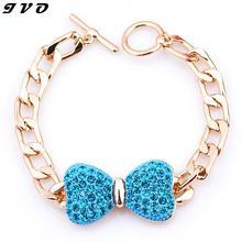 Novo design de alta qualidade moda charme brilhante de strass arco cadeia jóias pulseira larga pulseira mão acessórios mulheres 2016