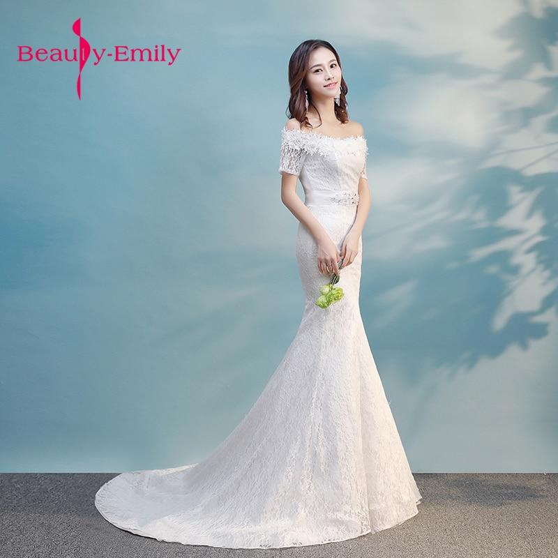 Beauty Emily Boat Neck Lace Mermaid Lace Wedding Dresses 2018 Short ...