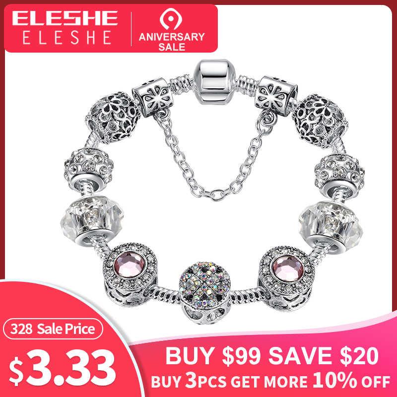 7786b3d69 Original Silver 925 Crystal Four Leaf Clover Bracelet with Clear Murano Glass  Beads Charm Bracelet Bangle