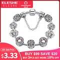 Original de plata 925 cristal cuatro hoja trébol pulsera con claro de cristal de Murano perlas encanto brazalete de la pulsera para las mujeres de la joyería de DIY
