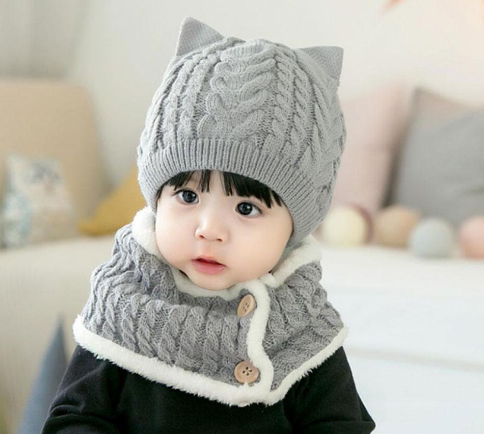 Scarf Warp Set Cute Baby Toddler Kids Boys Girls Cotton Stripe Hat Cap Beanie