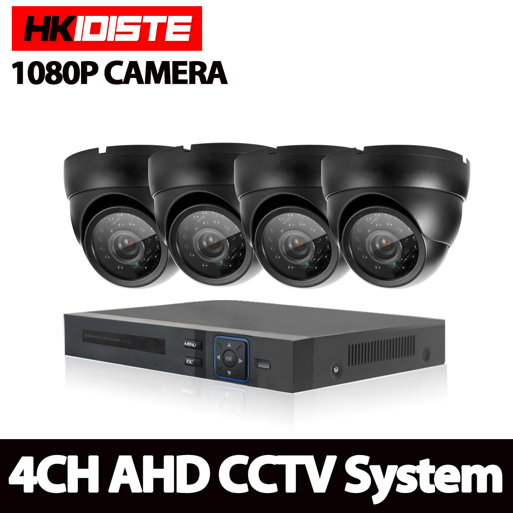 4CH 1080N HDMI DVR HD Dome indoor Outdoor 1080p Black Security Camera System 4 Channel CCTV Surveillance DVR Kit AHD Camera Set