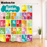 Babaite High Quality Cartoon Alphabet Waterproof And Mildewproof Polyester Fabric Shower Curtain For Bathroom With Hooks