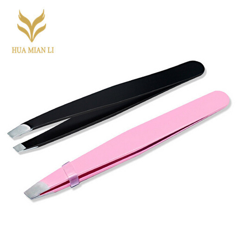 HUAMIANLI Stainess Steel Lady Eyebrow Tweezers Hair Removal Stainless Steel Beauty Slant Tip eyebrow clip Makeup Tool