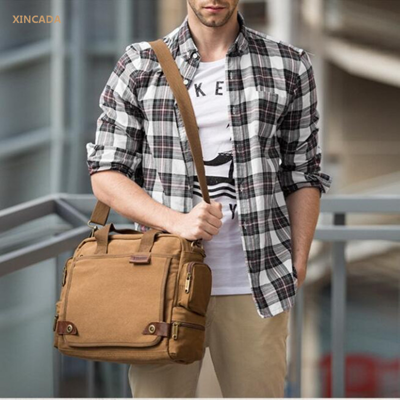XINCADA 2017 Latest khaki canvas messenger bag for men Multi-functional shoulder bags male black crossbody bags as gifts hombre смеситель для мойки blanco actis coffee