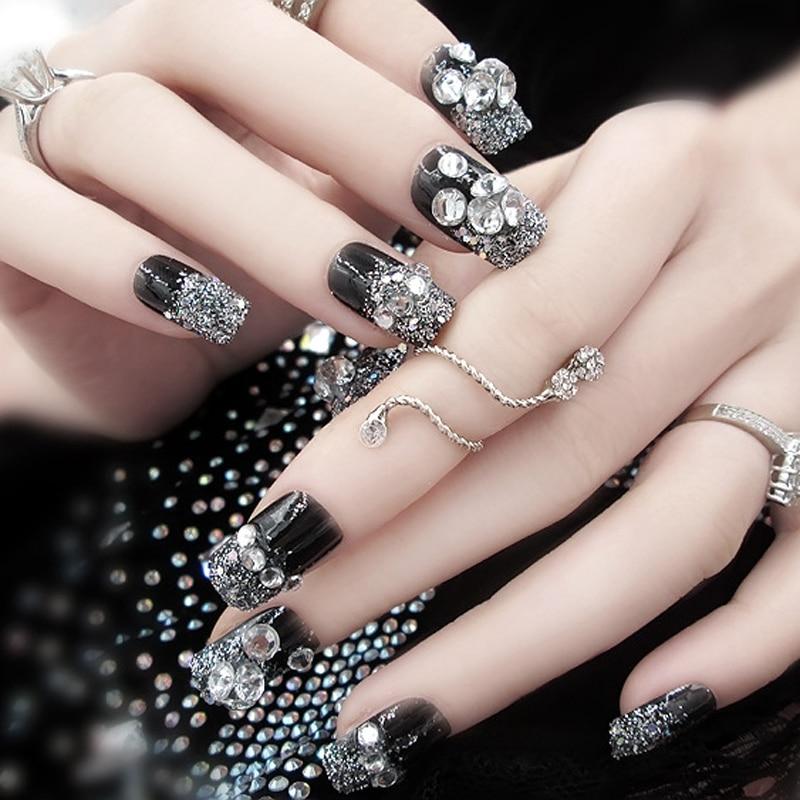 24pcs set black 3d false nails