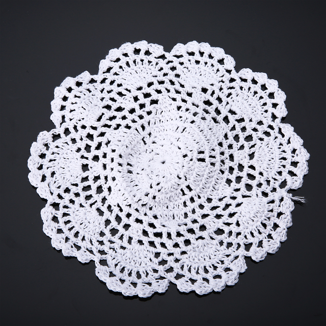 3pcs White Hand Crochet Floral Doilies Cotton Coasters Lot Round ...