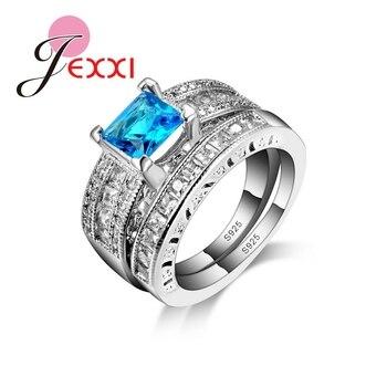 2af9a3522c9c JEXXI envío gratis 2 piezas conjunto de anillo de Plata de Ley 925 azul de  corte de piedra de Zirconia cúbica joyería de boda de mujer 6  7 8 9