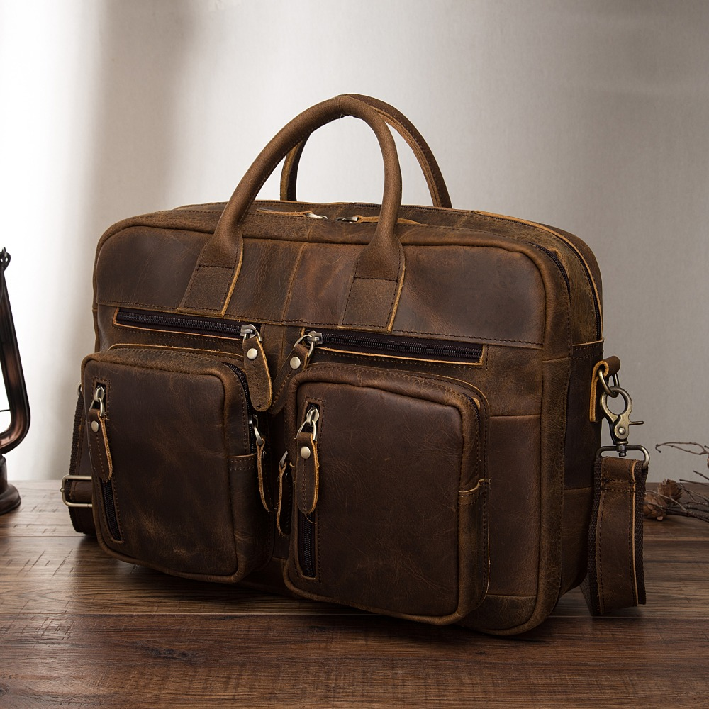 Original Leather Fashion Business Briefcase Messenger Bag Male Design Travel Laptop Document Case Tote Portfolio Bag K1013-d
