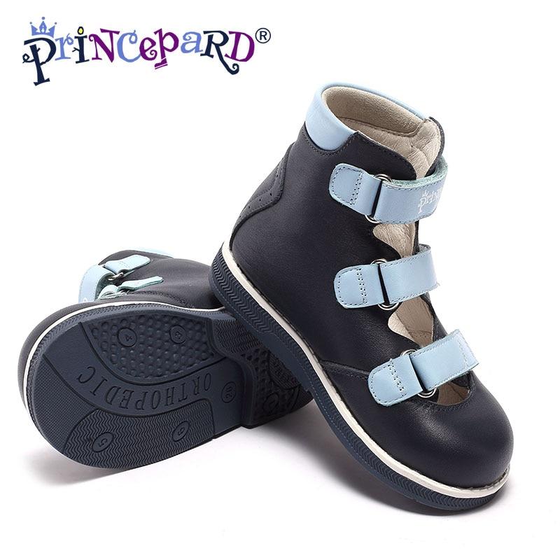 Princepard crianças da criança meninos dupla cinta ajustável fechado-toe ortopédico sandálias ortopédicas sapatos para meninos do bebê crianças sandálias