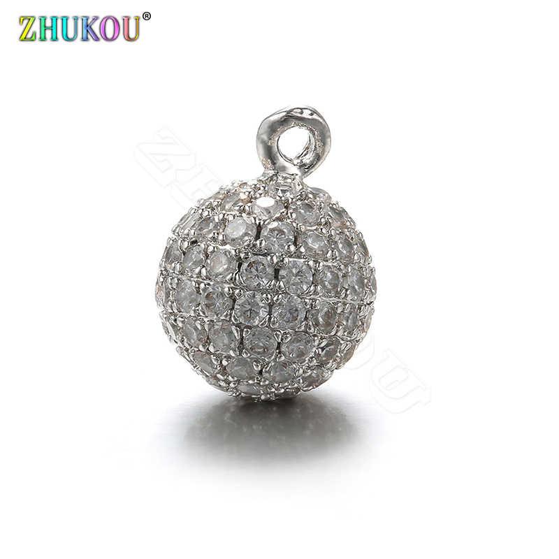 ZHUKOU 10x14mm Rodada Geométrica Encantos para Fazer Jóias de Bronze Melhor Qualidade Cubic Zirconia Pingente para Jóias Acessó VD387