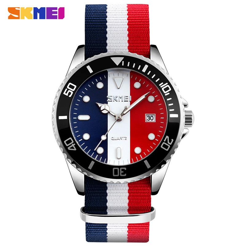 Prix pour Hommes quartz montre SKMEI marque 30 M étanche sangle en nylon de mode auto date montres hot homme horloge montres masculino relojes