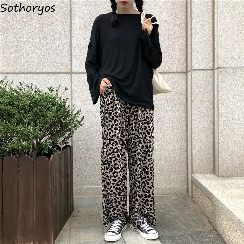 Pants Women Retro Autumn Loose Leopard High Waist Elegant Korean Womens Trousers Trendy Soft Daily Chic Pockets Casual All-match