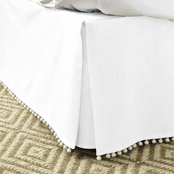 "Free Shipping Hot Sale Hotel Bed Skirt Pompon tassel5Colors Cotton Fabric for King/Queen/Full/Twin Size With 14"" Drop Hotel Line"